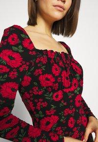 Miss Selfridge - FLORAL BODYCON MINI - Robe fourreau - black - 6