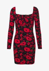 Miss Selfridge - FLORAL BODYCON MINI - Tubino - black