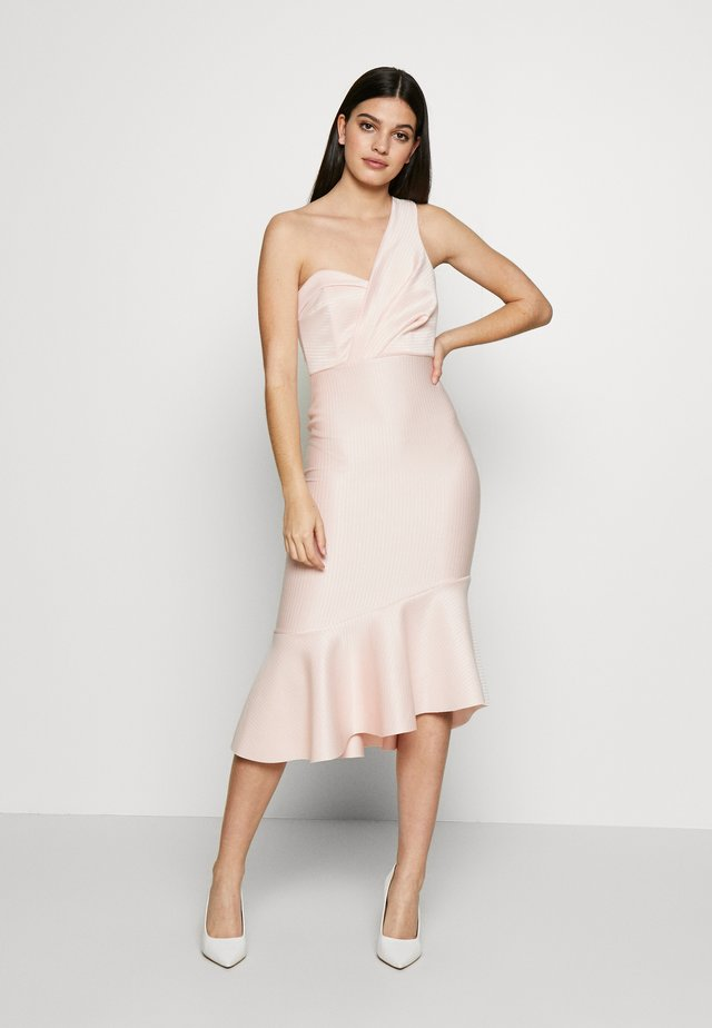 STRIPE ONE SHOULDER FRILL MIDI DRESS - Juhlamekko - blush