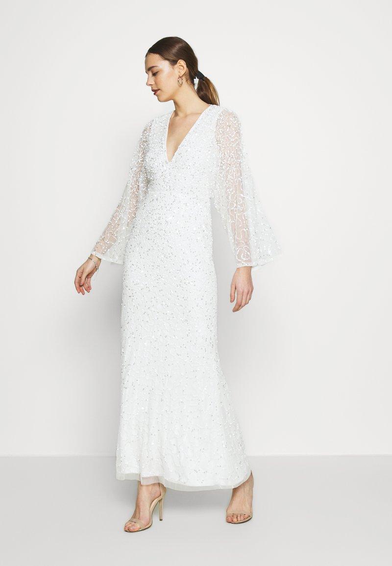 Miss Selfridge - ALL OVER EMBELLISHED MAXI DRESS - Iltapuku - ivory/silver