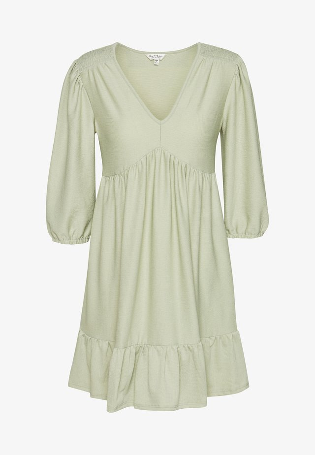 3/4 SLEEVE SMOCK DRESS PLAIN - Korte jurk - sage green