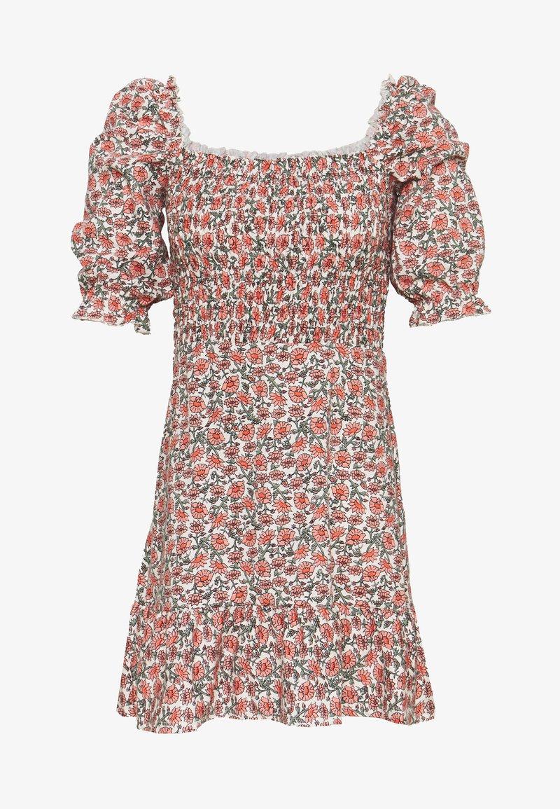 Miss Selfridge - SHIRRED PUFF SLEEVE MIDI DRESS - Day dress - pink