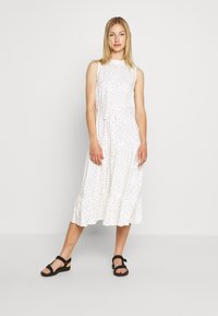 Miss Selfridge - HIGH NECK SPOT MIDI - Day dress - white - 0