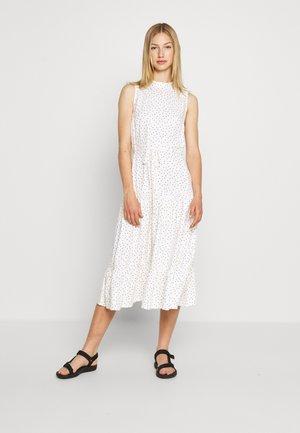 HIGH NECK SPOT MIDI - Denní šaty - white