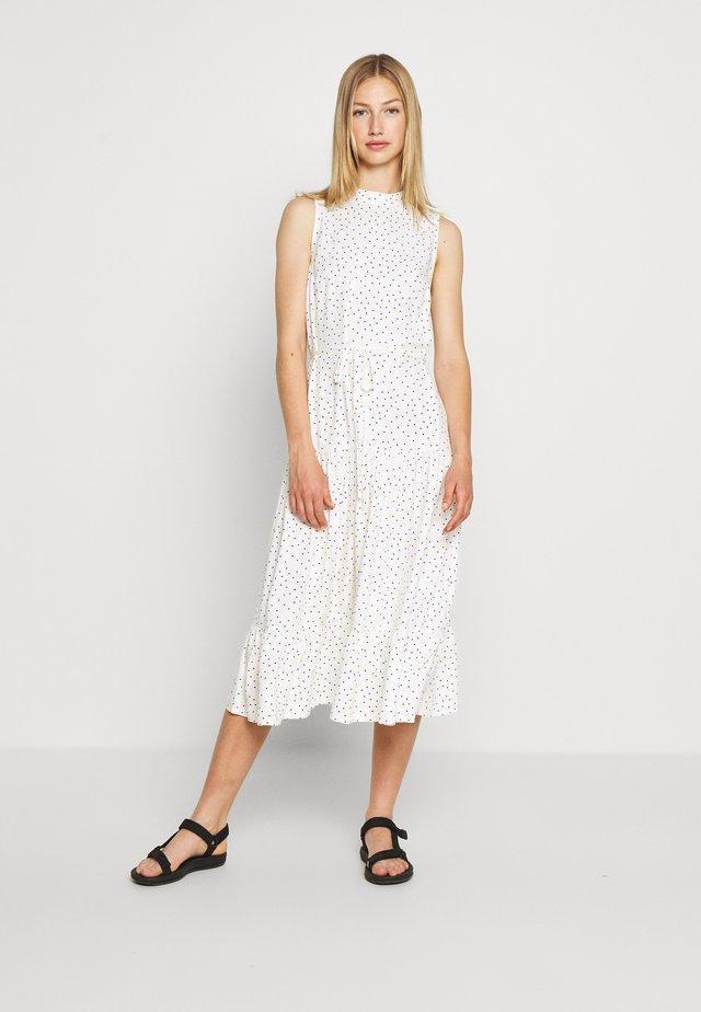 HIGH NECK SPOT MIDI - Day dress - white