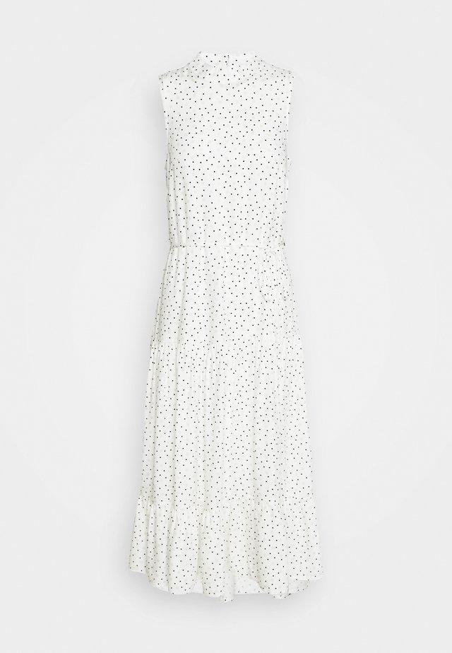 HIGH NECK SPOT MIDI - Day dress - white