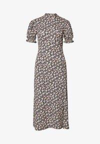 Miss Selfridge - HIGH NECK PUFF SLEEVE MIDI DRESS - Day dress - black - 0