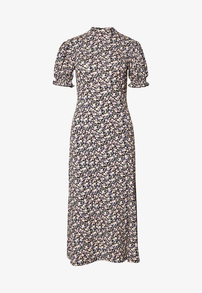 Miss Selfridge - HIGH NECK PUFF SLEEVE MIDI DRESS - Day dress - black