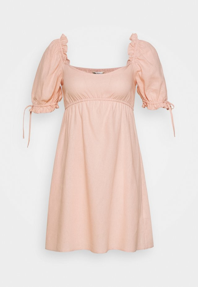 LINEN-MIX MINI DRESS - Vestido informal - pink
