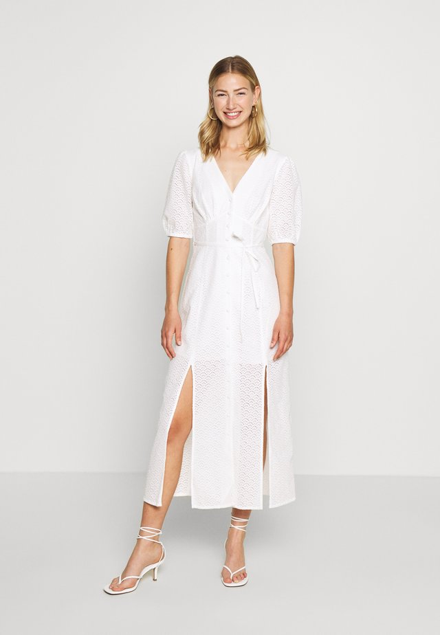 BRODERIE BUTTON THROUGH - Shirt dress - ivory