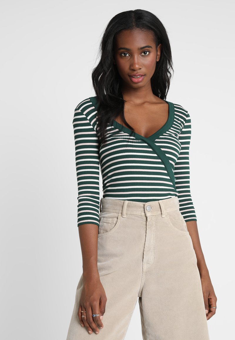 Miss Selfridge - WRAP STRIPE SPORTS TRIM - Camiseta de manga larga - green