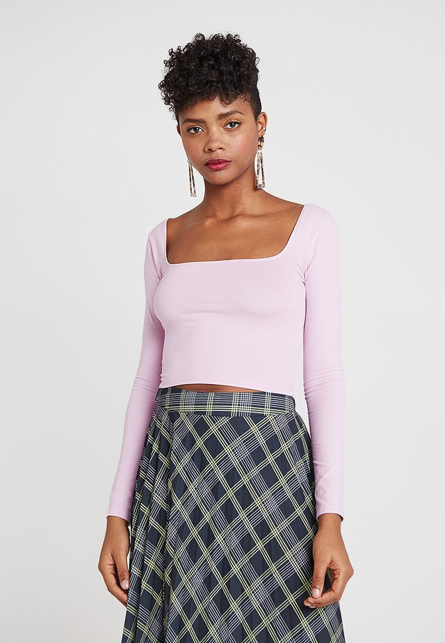 SQUARE NECK CROP 2 PACK - Long sleeved top - lilac/mint