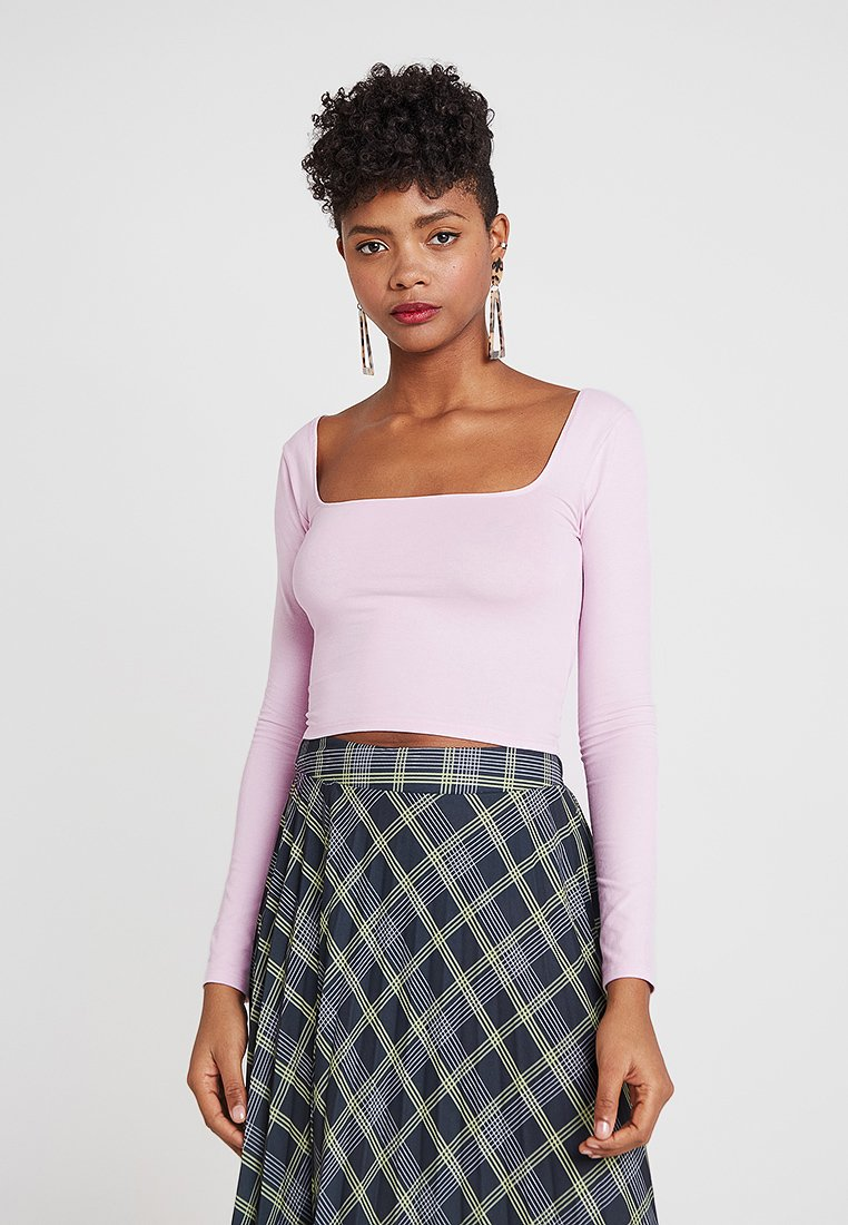 Miss Selfridge - SQUARE NECK CROP 2 PACK - Long sleeved top - lilac/mint