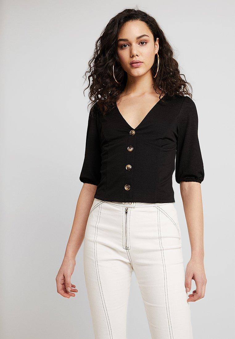 Miss Selfridge - SWEETHEART BUTTON THROUGH - T-shirts print - black