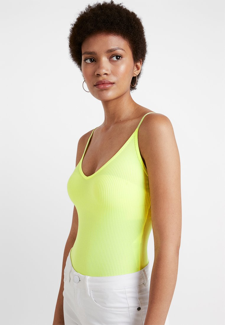 Miss Selfridge - APEX SHINY BODY - Top - bright yellow