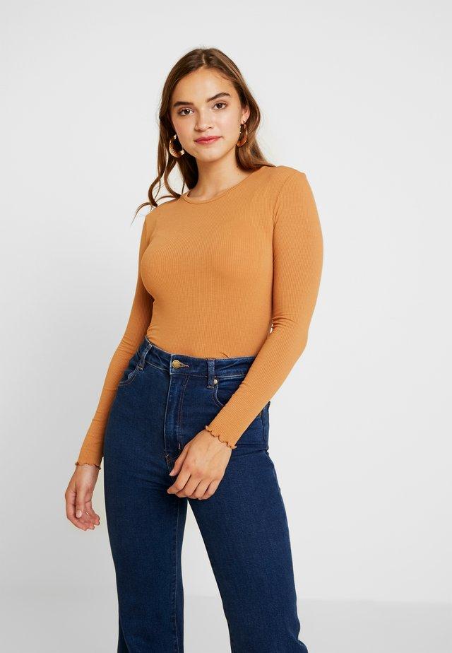 LETTUCE HEM - Long sleeved top - tan
