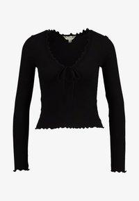 Miss Selfridge - TIE FRONT LETTUCE - Bluzka z długim rękawem - black - 3