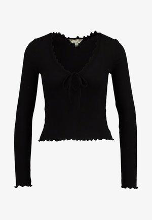 TIE FRONT LETTUCE - Bluzka z długim rękawem - black