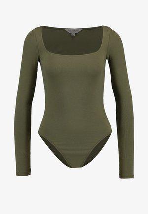 SQUARE NECK BODY - Bluzka z długim rękawem - khaki