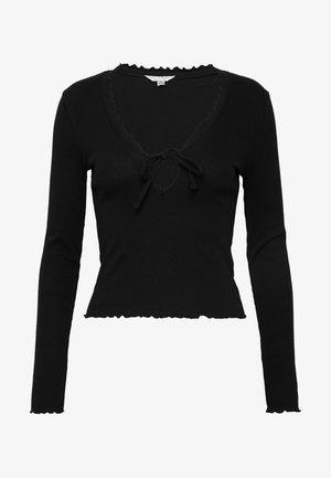 LETTUCE TIE FRONT - Long sleeved top - black