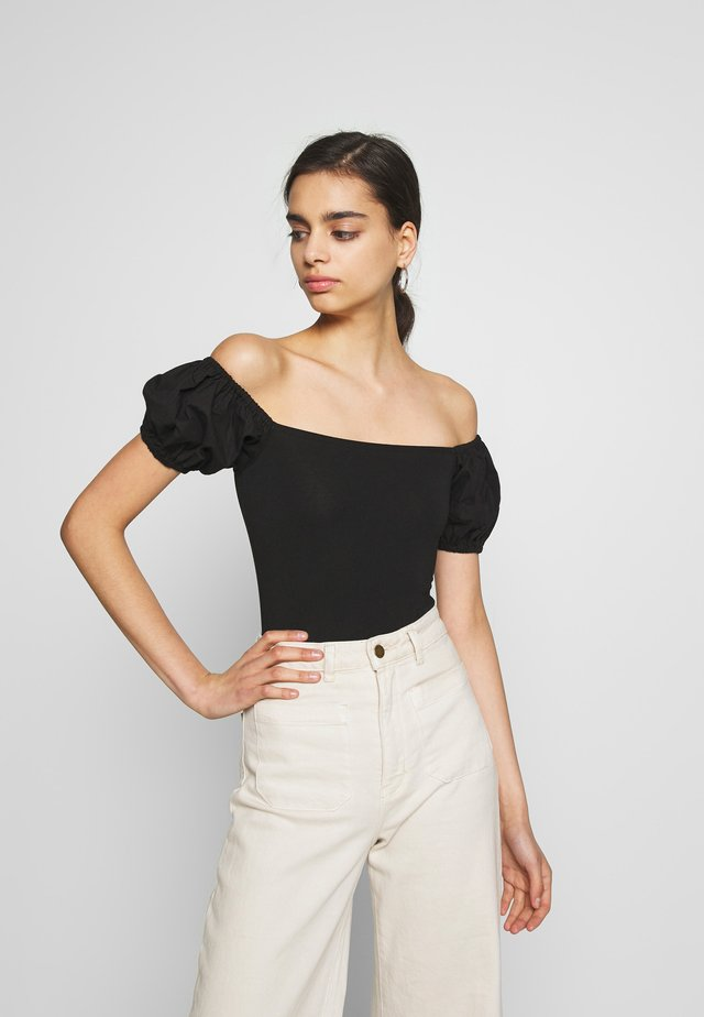POPLIN BARDOT BODY - T-Shirt basic - black