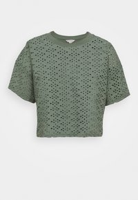 Miss Selfridge - BRODERIE TEE - Blouse - khaki - 0