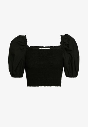 POPLIN PUFF SLEEVE SHIRRED - Basic T-shirt - black