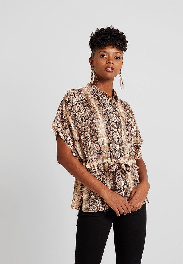 PONY PRINT UTILITY DRAWSTRING WAIST - Button-down blouse - brown
