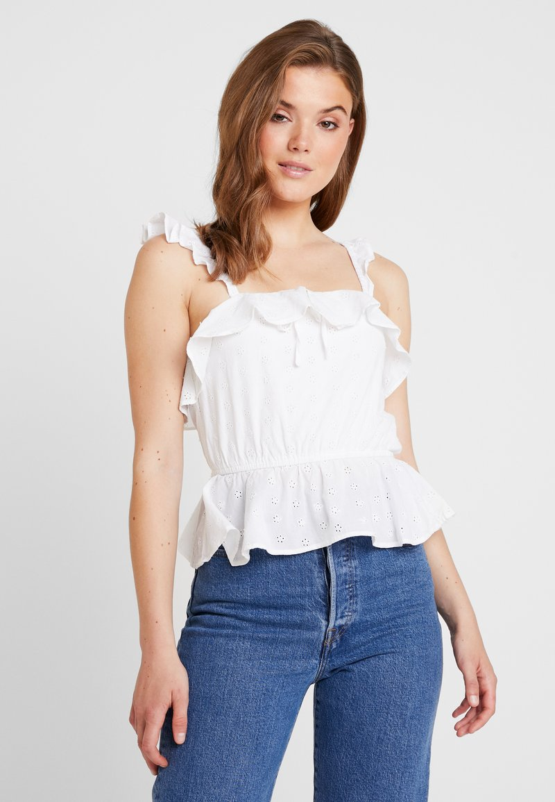 Miss Selfridge - BRODERIE GYPSY CAMI - Bluse - white