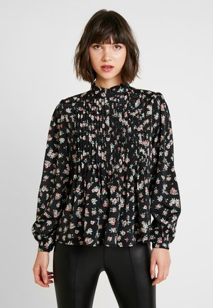 PIN TUCK FLORAL BLOUSE - Blůza - black
