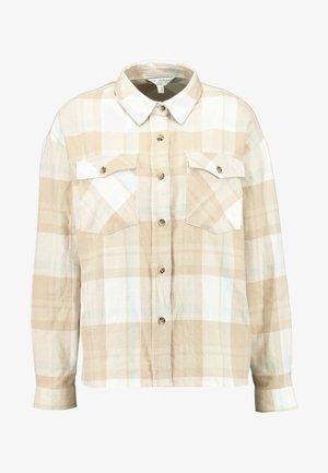 OVERSIZED BOXY CHECK - Košile - beige