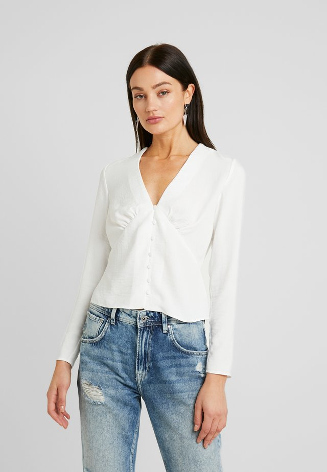 ROULEAU BUTTON PLUNGE LONG SLEEVE BLOUSE - Blouse - ivory