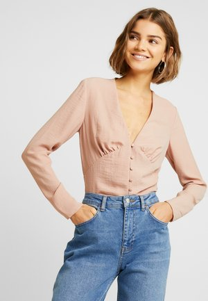 ROULEAU BUTTON PLUNGE LONG SLEEVE BLOUSE - Blus - pink