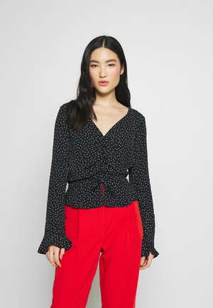 PINSPOT RUCHED BLOUSE - Bluzka - black
