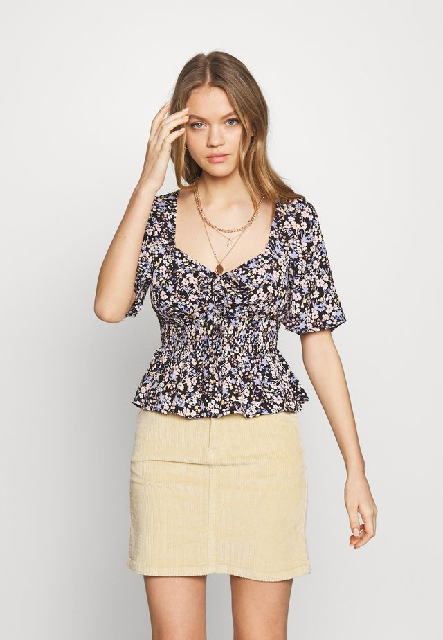 LARA FLORAL SHORT SHIRRED - Blouse - black
