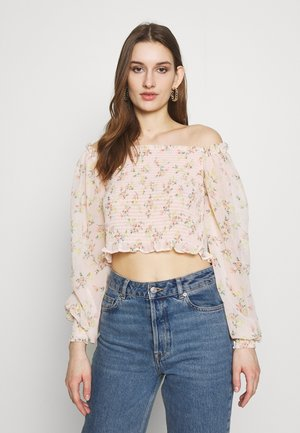FLORAL SHIRRED BLOUSON SLEEVE BLOUSE - Bluser - nude