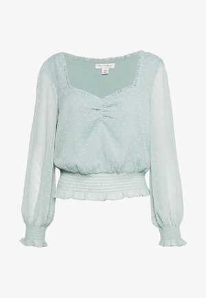 RECYCLED DOBBY SHIRRED SWEETHEART - Blouse - sage