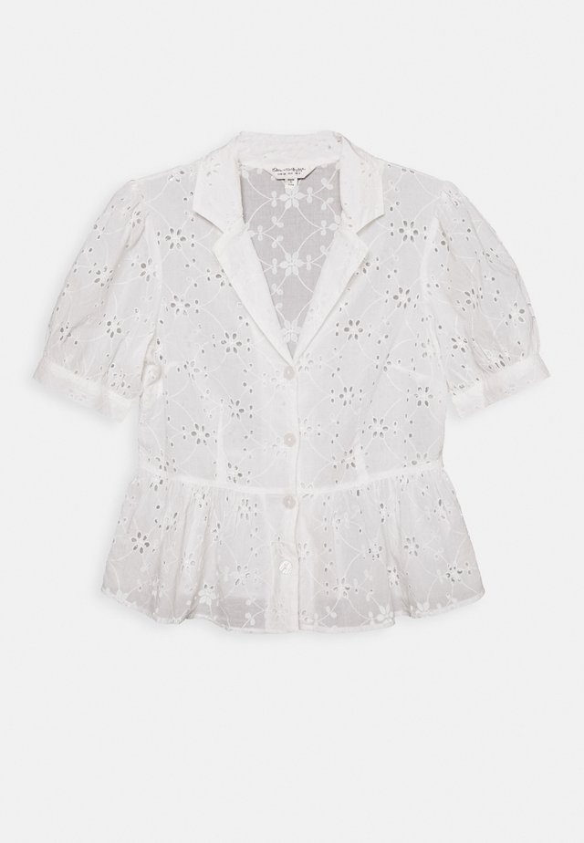 BRODERIE SHORT SLEEVE SHIRT - Blůza - white