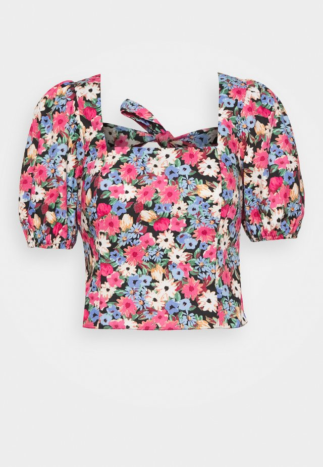 80S FLORAL BOW BACK TOP - Blouse - pink