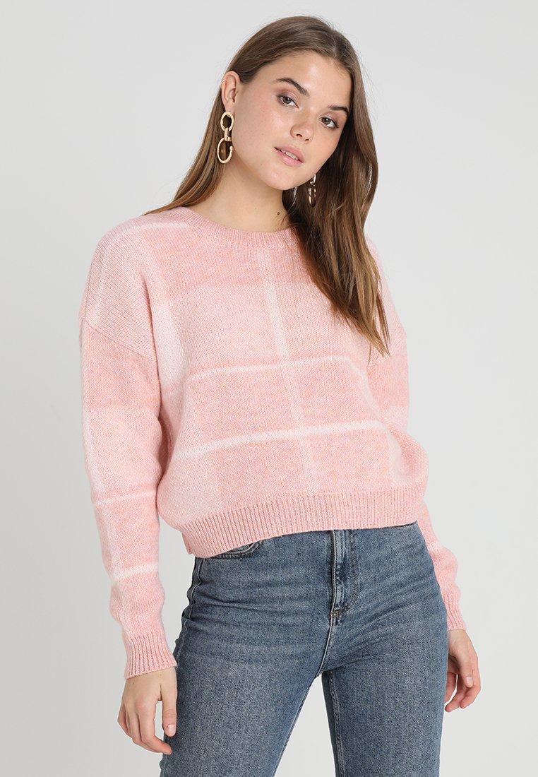 Miss Selfridge - CHECK JUMPER - Trui - pink
