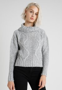 Miss Selfridge - CHUNKY CABLE ROLL NECK - Svetr - grey - 0