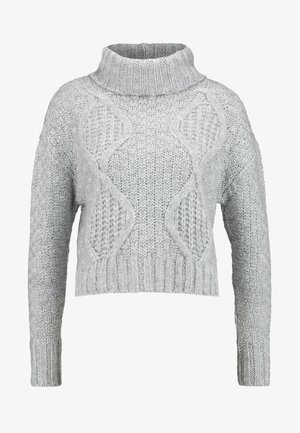 CHUNKY CABLE ROLL NECK - Neule - grey