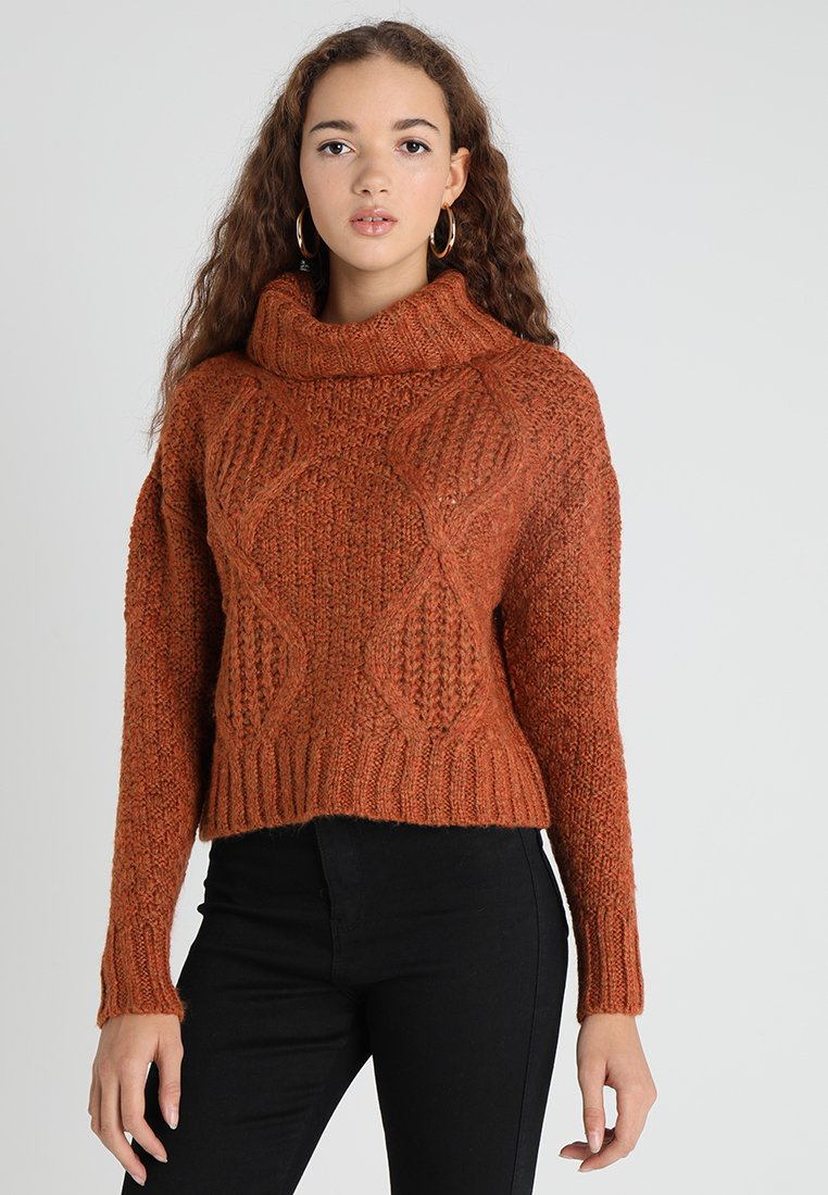 Miss Selfridge - CHUNKY CABLE ROLL NECK - Jumper - rust