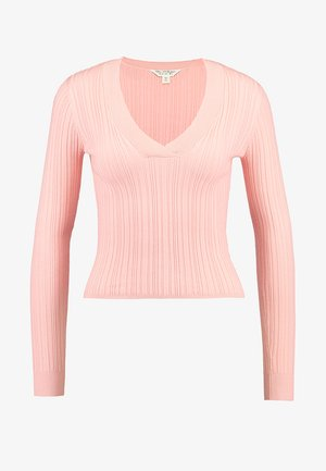 V NECK CROP TIP - Strikkegenser - pink