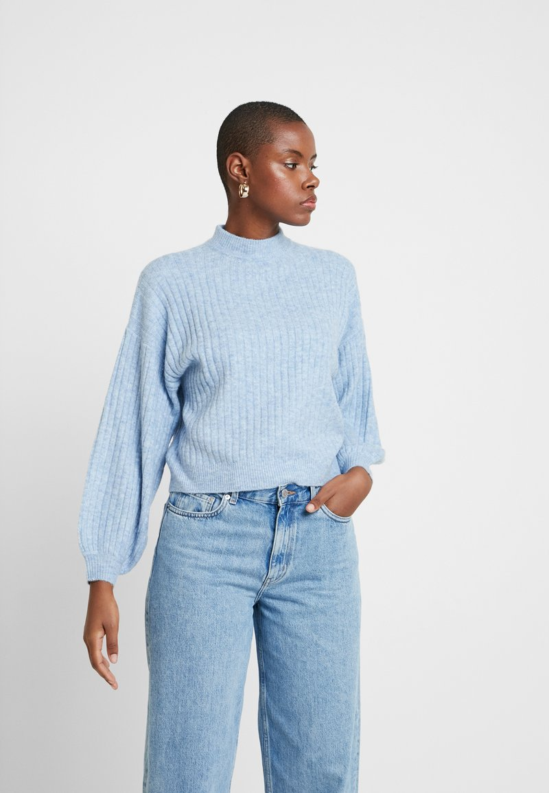 Miss Selfridge - BALLOON SLEEVE WIDE FUNNEL NECK - Jumper - blue