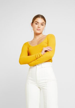 TIE BACK REPEAT - Stickad tröja - marigold