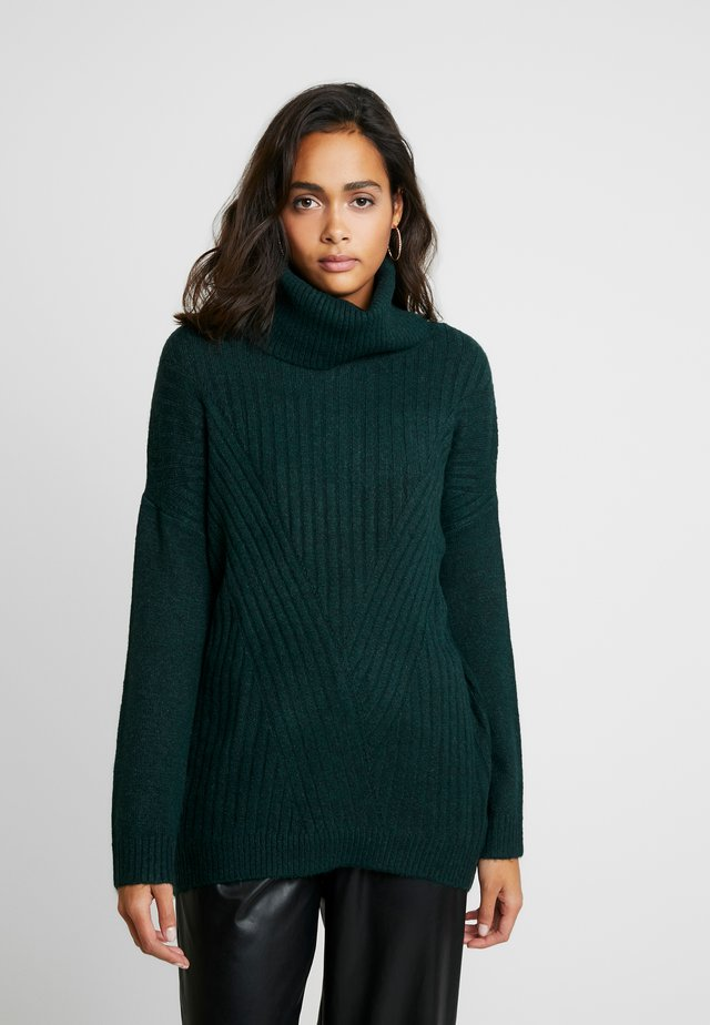 LONGLINE ROLL NECK JUMPER - Jumper - forest green