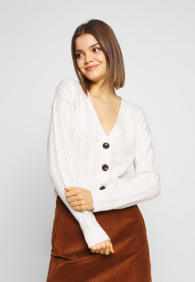OVERSIZED STITCH DETAIL BOXY CARDIGAN - Strickjacke - oatmeal