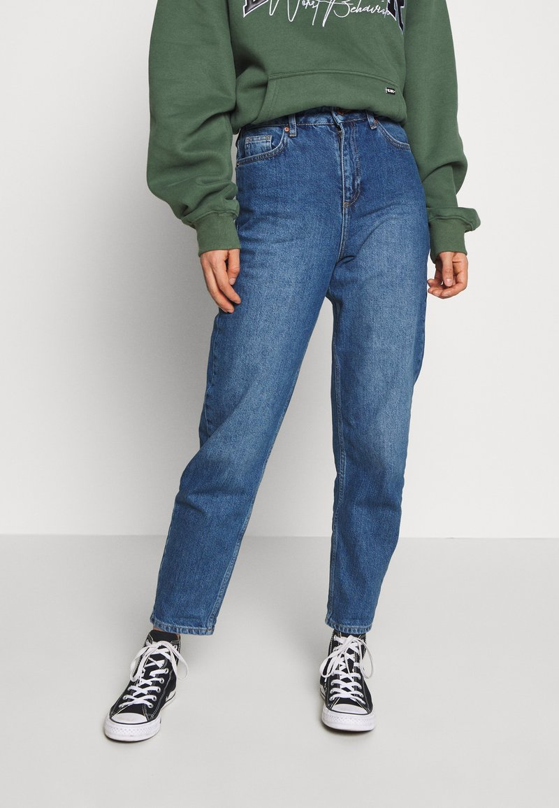 Miss Selfridge - FRILL TOP MOM - Relaxed fit jeans - mid blue