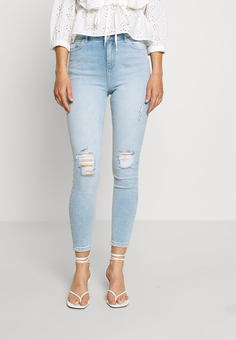Miss Selfridge - SOL LIGHT WASH RIPPED - Jeans slim fit - blue